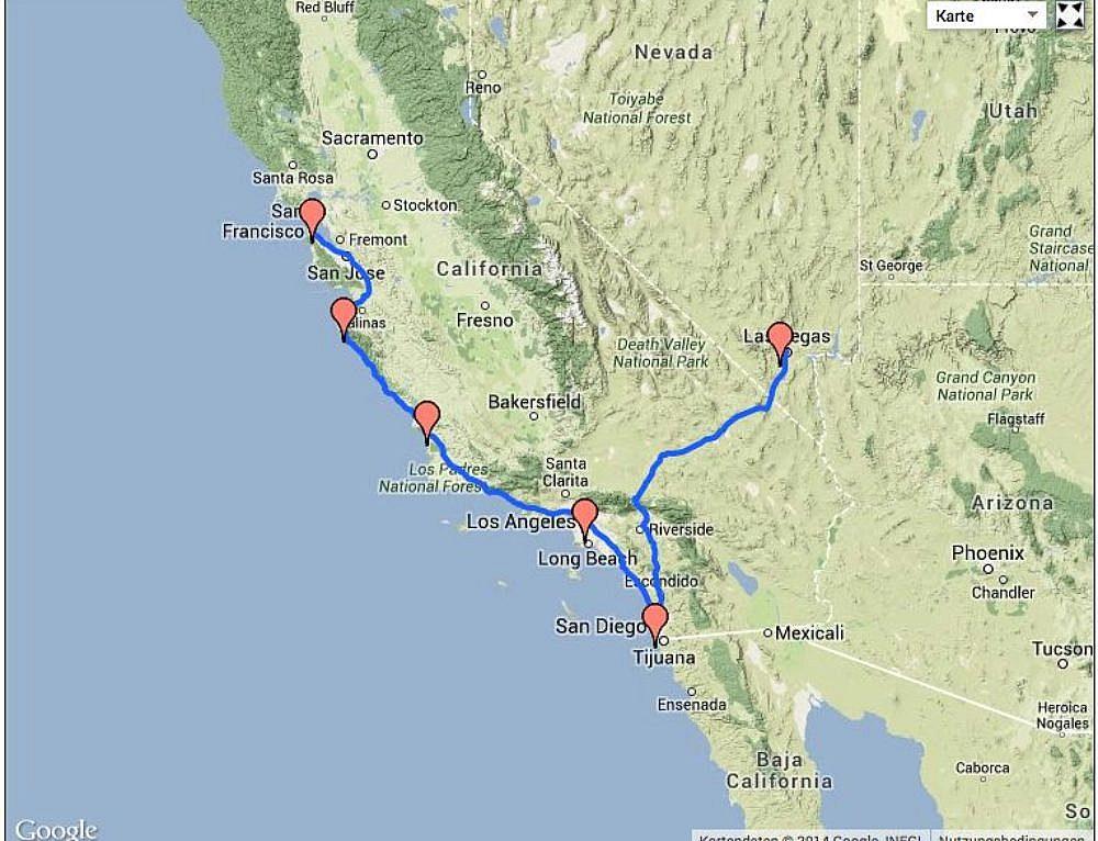 USA Routenvorschlag 1: Mietwagenreise Die Städte im Westen der USA