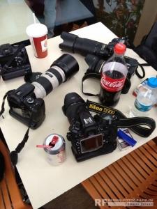 Kameras bei einem Spottertreff