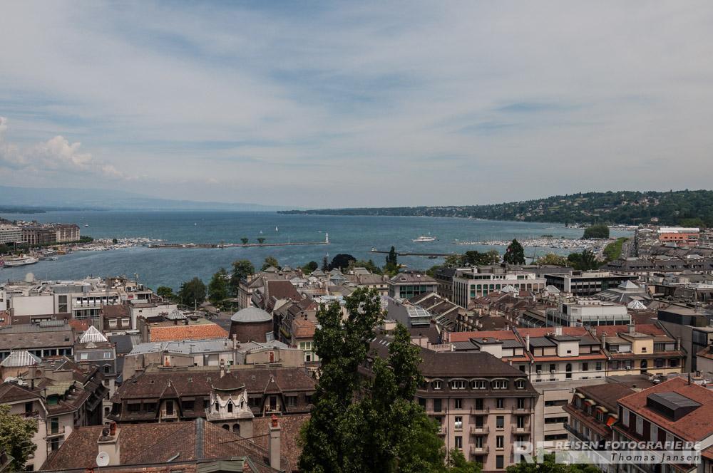 Übersicht über Genf und den See