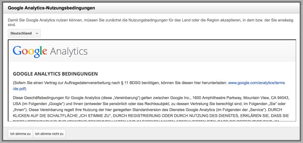 Google Analytics Bedingungen
