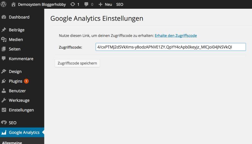 Google Analytics Zugriffscode
