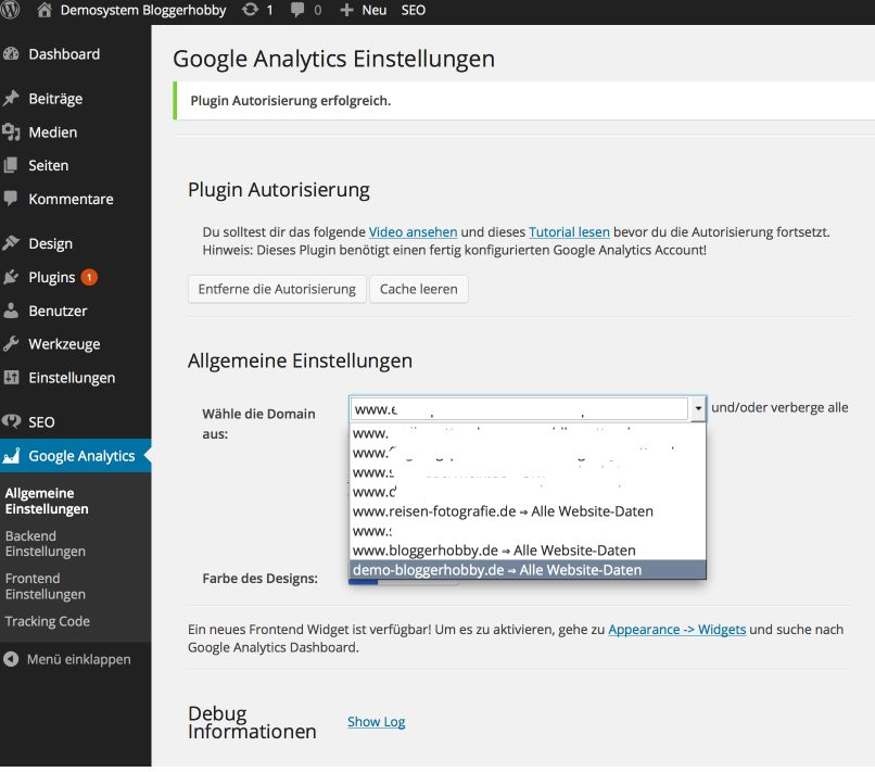 Konto bei Google Analytics auswählen