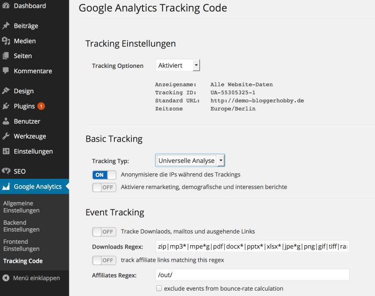 Tracking Code einbinden