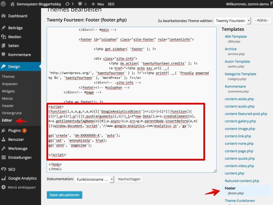 Google Analytics Code manuell einfügen