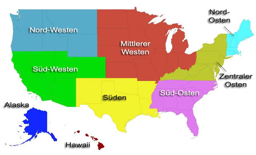 Regionen der USA - Variante 2
