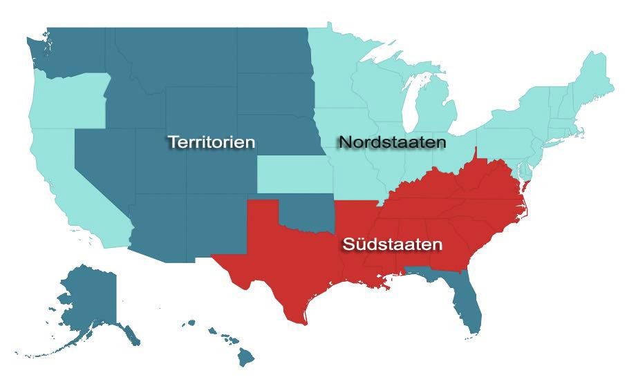 Karte Nord- und Südstaaten