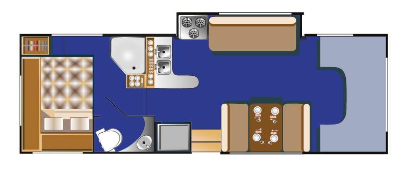 Raumaufteilung in einem 30 Feet Mobil bei Tag