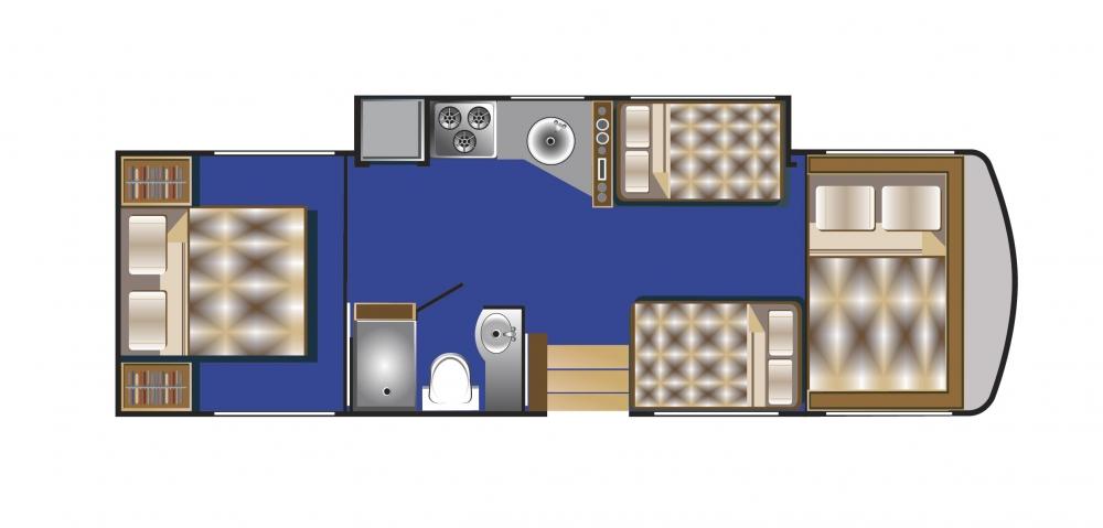 A-Klasse Wohnmobil Aufteilung Nacht