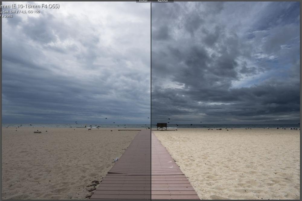 links Original - rechts nach dem Einsatz der Filter