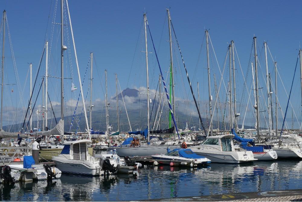 Hafen von Horta mit Blick zum Pico.
