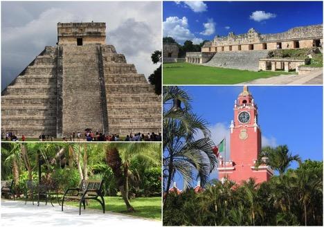 Die wohl bekannteste Maya-Pyramide in Chichén Itzá; Maya-Stätte Uxmal; Impression aus der Anlage; Turm in der Stadt Merida