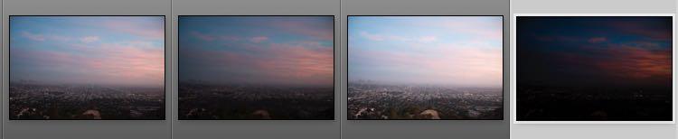Originale der Belichtungsreihe und rechts die erzeugte TIF-Datei