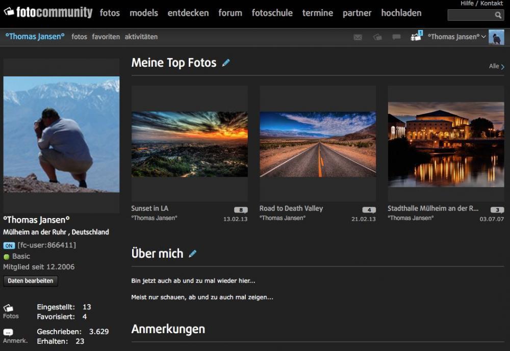 Profil in der Fotocommunity