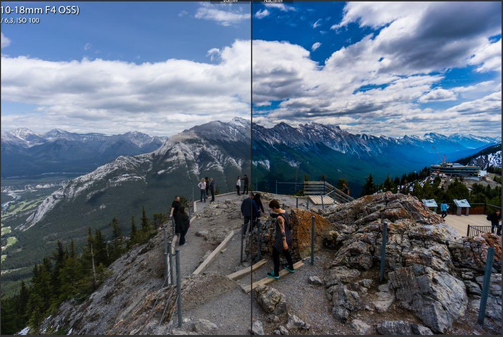 RAW Format: Links das RAW aus der Kamera - Rechts die Entwicklung