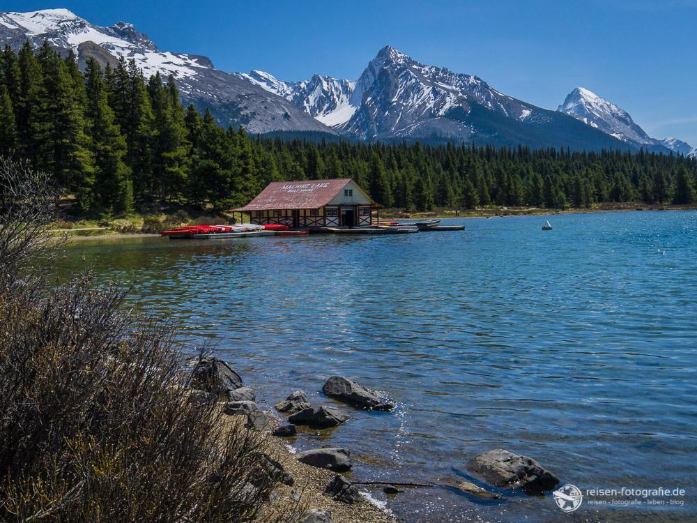 Fotografie für Anfänger: Boathouse am Maligne Lake
