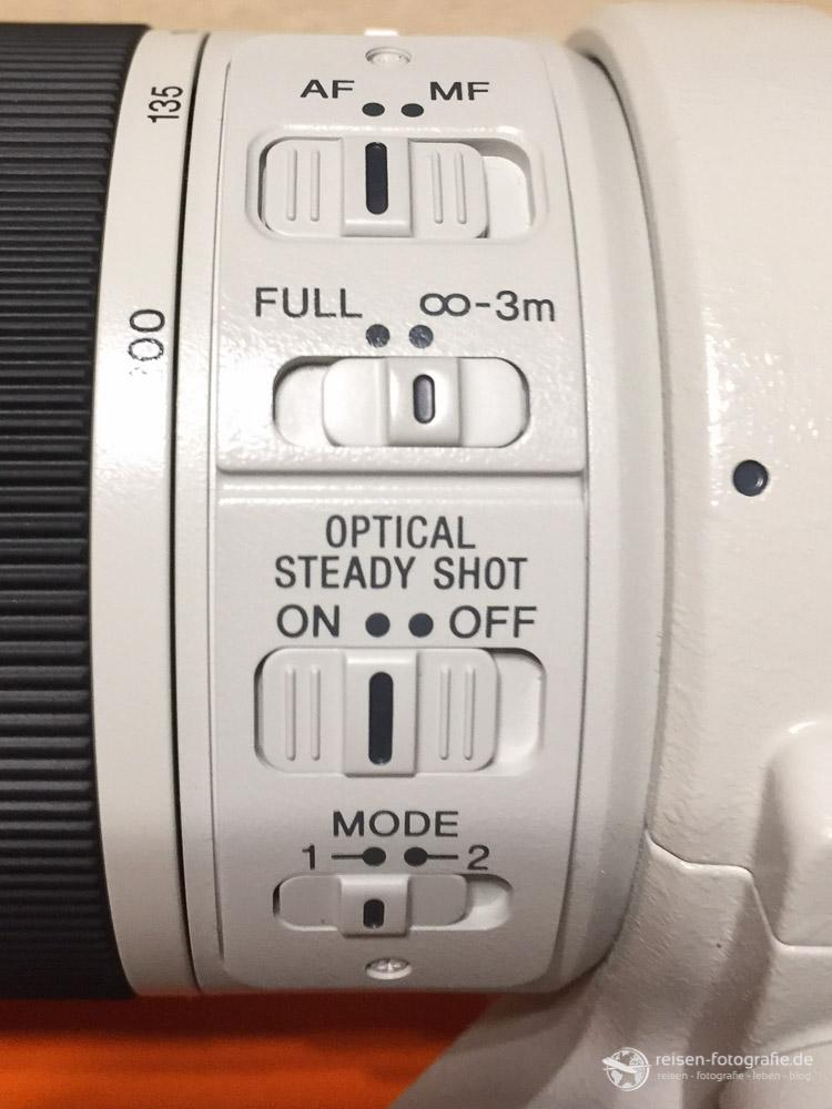 Schalter am Sony SEL 70200