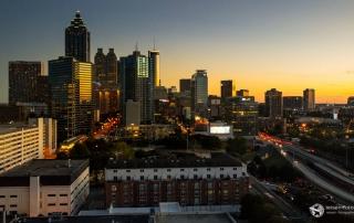 Atlanta Skyline im Sonnenuntergang