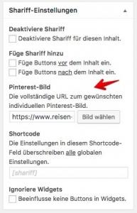 Shariff und Pinterest