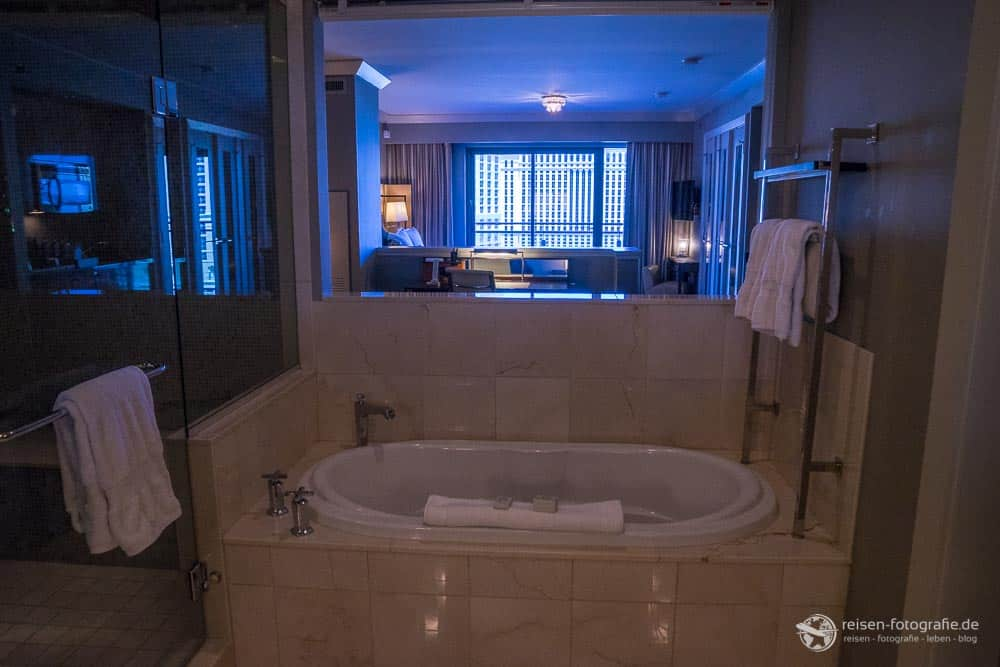 Blick vom Bad durch den Wohn- und Schlafbereich bis nach draußen