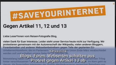 Artikel 13 - Blogs abschalten