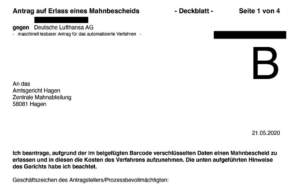 Lufthansa Mahnbescheid